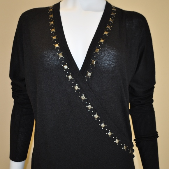 Tarun Tahiliani Dresses & Skirts - Black Pashmina Overlap Wrap Embroidered Dress L